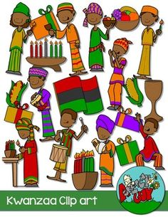 Kwanzaa / Winter Holiday Clipart   Included is a set of 43 individual files.  Included are 22 Color and 21 White      $