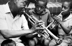 Louis Armstrong and kids
