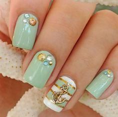Light green nautical nail art with shells and anchor :: one1lady.com :: #nail #nails #nailart #manicure