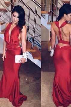 Red Halter Long Sheath Prom Dress Party Dress Sexy Evening Dress