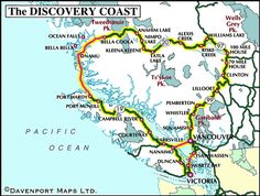 Circle Tour Map of the Discovery Coast, British Columbia Williams Lake, Road Trip Map, Haida Gwaii, Long Drive, Western Canada, Camping Stuff, Canoeing, Vancouver Island, Travel List