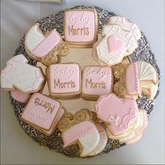 Sweet Kiera Cookies at a Pink, White, and Gold Baby Shower