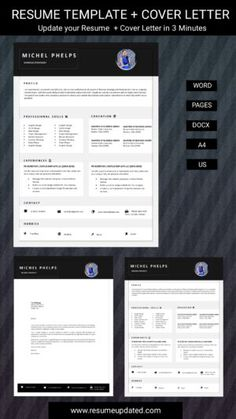 Cover Letter Format, Cover Letter For Resume, Modern Resume Template, Resume Design Template, Curriculum Vitae Template, Professional Resume, Michel, A Team, Templates