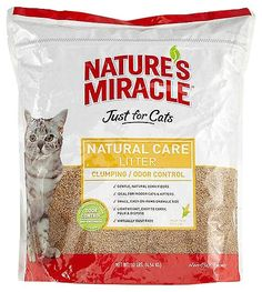 It takes more than a timely scoop to get rid of litter box odors… it takes 24/7 attention! Nature's Miracle JFC Natural Care Cat Litter has an advanced bio-enzymatic odor control system that starts to break down odor from urine and feces on contact! This 99% dust-free scented litter is made from natural corn cob granules that are more absorbent than clay and soft on your kitty's feet, too!