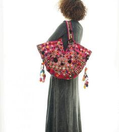 Pink Bohemian Boho Ethnic Tribal Vintage India Textile Bag 00029