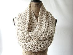 New Large Tan Chunky Scarf Fall Winter by SouthernStitchesCo, $26.00