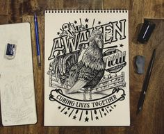 Awaken Rooster Illustration ////// WOW!!!! The words AWAKEN do just that to you. AWAKES you. The 3D quality makes me want to reach out.