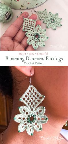 The Blooming Diamond Earrings design is one of the beautiful crochet design earrings any chic and elegant crocheter would love to crochet, to wear or to give as a gift. The pattern with the written instructions and photos is very easy to follow. Make yours now, get the pattern in the link! #crochet #pattern #earrings #beads #tutorial #flower #jewelry Flower Jewelry, Flower Earrings, Diamond Earrings, Crochet Earrings Pattern, Crochet Necklace, Half Double Crochet, Single Crochet, Crochet Gifts, Crochet Hooks