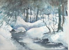 Watercolor Scenery, Watercolor Landscape, Landscape Paintings, Watercolor Paintings, Painting Snow, Winter Painting, Southwestern Art, Winter Scenery, Winter Landscape