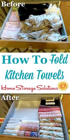 How to fold kitchen towels and dish cloths to make it easy to keep these items o. How to fold kitchen towels and dish cloths to make it easy to keep these items organized and neatly Towel Organization, Kitchen Drawer Organization, Towel Storage, Diy Kitchen Storage, Diy Storage, Kitchen Hacks, Diy Kitchens, Kitchen Decor, Organization Ideas