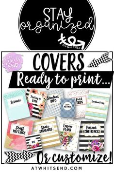 These beautiful binder covers will help you stay organized! Balance your teacher life, write your lesson plans, file the teacher forms all the while being ready for anything that comes next.  This teacher binder organizational bundle has it all!