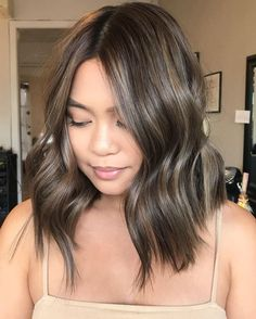 Long Wavy Ash-Brown Balayage - 20 Light Brown Hair Color Ideas for Your New Look - The Trending Hairstyle Balayage Lob, Ash Brown Balayage, Brown Ombre Hair, Bayalage, Brown Hair With Highlights, Brown Hair Colors, Dark Brown Lob, Short Light Brown Hair, Dark Hair