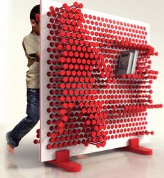 The Pin Pres is a storage system that lets a child change the positions of sliding pins to create custom shelving arrangements. this would be so much fun as a toy! Art Furniture, Furniture Design, Library Furniture, Furniture Storage, Plywood Furniture, Creative Bookshelves, Custom Shelving, Shelving Decor, Room Shelves