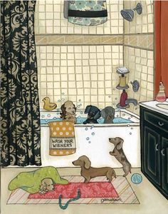 Wash Your Wieners ~ Jamie Morath Art mixed media collage, bath, bathroom, bathtub, shower curtain, black and white, tile, towels, wash, doxie, dachshund, wiener dog, polka dots, orange, blue, yellow, coral, green