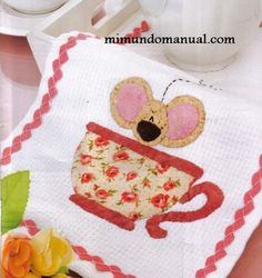 cute applique design with a mouse in a coffee cup
