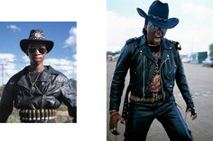 """Week 5: Subcultures in the Fashion Industry Photo #1 Date: October 6, 2016 Location: Botswana Camera/ Technology Used: Unknown Image Description: """"The Renegades/ Afrometal"""" subculture in Botswana. Wear cowboy hats, leather suits, silver buckles, etc."""