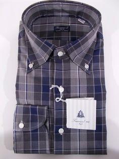 FINAMORE camicia uomo CLASSICA casual COTONE scozzese BLU GRIGIO A/I tg.M-L NWT