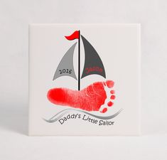 Informations About Sail Boat Footprint Ceramic Tile Plaque, Using Actual Prints, Daddy's Little Sailor, Baby Footprint, Sailboat Enthusiast Daddy Keepsake Pin You can easily use Baby Footprint Art, Footprint Crafts, Grandparents Day Crafts, Mothers Day Crafts For Kids, Fathers Day Art, Fathers Day Crafts, Boat Crafts, Summer Crafts, Toddler Art