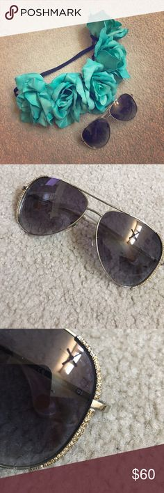 Micheal Kors Sunglasses Authentic Micheal Kors Sunglasses   Sadie (M2062S) aviation style sunglasses - normal wear & tear small scratch on both lenses. Price is negotiable because of the wear-  Gently used but still have a lot of life. Michael Kors Accessories Glasses