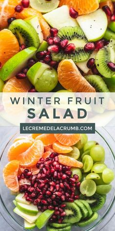 Is there anything more delightful than a Winter Fruit Salad packed full of bright, citrusy flavors from clementines, kiwis, apples, grapes, and pomegranates? Topped with lime juice and honey to accent the fruit's flavors, this is a fruit salad recipe that can't be beat! | lecremedelacrumb.com #winter #fruitsalad #healthy #sidedish #yummyrecipe #appetizers #saladrecipes Ham Salad Recipes, Fruit Recipes, Healthy Recipes, Spicy Recipes, Asparagus Recipe, Asparagus Salad, Salmon Salad, Shrimp Salad, Tuna Salad