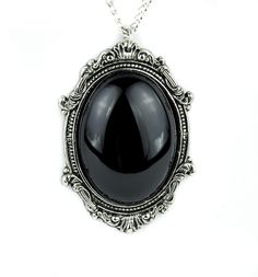 Gothic Victorian Black Stone Vampire Necklace