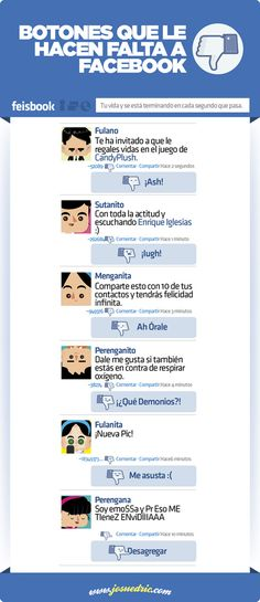 Botones que le hacen falta a FaceBook Vía: www.josuedric.com  #infografia #infographic #socialmedia #humor