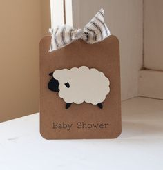 Sheep Lamb Baby Shower Invitations Neutral Thank You Notes Ticking Stripes Kraft Rustic VIntage by CardinalBoutique on Etsy