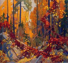 """""""Autumn's Garland"""" - by member of the Group of Seven Canadian painters, Tom Thomson. Canadian Painters, Canadian Artists, Art And Illustration, Landscape Art, Landscape Paintings, Canada Landscape, Forest Landscape, Watercolor Landscape, Oil Paintings"""