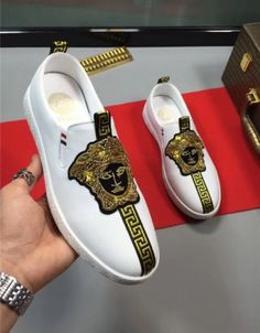 Versace casual shoes for men # 689757 Versace Fashion, Versace Shoes, Versace Sneakers, Zapatillas Casual, Herren Outfit, Fresh Shoes, Hype Shoes, Types Of Shoes, Shoe Collection