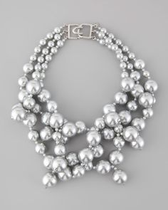 Kenneth Jay Lane Simulated Pearl Cluster Necklace, Silver from Neiman Marcus on shop.CatalogSpree.com, your personal digital mall.