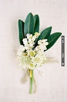 The grandmothers will have pinned on corsages of Queen Ann's lace, white waxflowers, and gilded leaves wrapped in nude ribbon with the stems showing.
