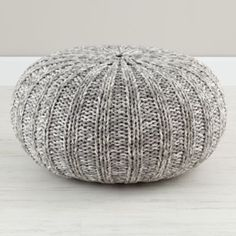 Varigated Grey Pouf    The Land of Nod floor pillow?