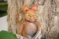 Mouse, Needle Felted Wool, Soft Sculpture, Beatrix Potter Inspired Felted Animal,  Mouse Reading the Paper on Top of Thread, READY TO SHIP