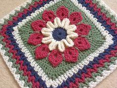Crochet~Simple 10-Petal Square~ Free Pattern