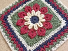 "Free Pattern - 9"" Afghan Square http://www.ravelry.com/patterns/library/simple-10-petal-afghan-square"