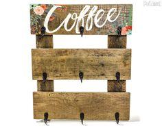 Coffee Cup Hanger - Pretty In Polka Dots - Floral mug rack Pallet wood