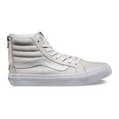 Crackle Suede SK8-Hi Slim Zip ($85) ❤ liked on Polyvore featuring shoes, sneakers, vans, white, suede high top sneakers, white high tops, high top shoes, vans sneakers and zipper sneakers