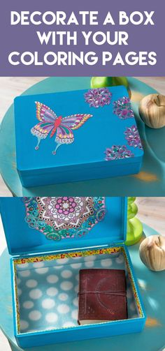 Use your adult color pages that are just laying around to make a craft. Decorate a box using your pages, Mod Podge, paint - it's a very pretty gift idea!