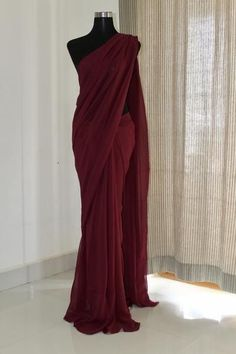 * Saree Fabric: Georgette * Saree Color: Maroon * Saree Length: M * Blouse Fabrics: Georgette * Blouse Color: Maroon * Blouse Length: 1 M * Blouse Inner : Yes * Look: Designer Saree * Wash Care: First Wash Dry Clean * Delivery Trendy Sarees, Stylish Sarees, Fancy Sarees, Simple Sarees, Maroon Saree, Plain Saree, Plain Georgette Saree, Plain Chiffon Saree, Modern Saree
