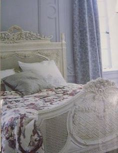 I love the muted look this room accomplishes. It looks like Marie Antoinette's country cottage. Bedknobs And Broomsticks, Shabby Bedroom, Room For Improvement, Bedroom Retreat, Colorful Backgrounds, Shabby Chic, Romantic Bedrooms, White Bedrooms, Cottage