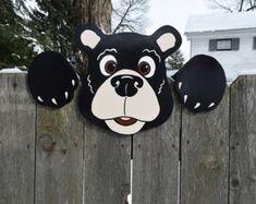 Zwarte beer hek Peeker Bear hek decoratie, buiten Yard kunst, Fence Art van Bear, Bear tuin decoratie, hek Sitter