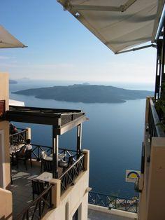 santorini | fira | cafe classico Santorini, Greece, Spaces, Outdoor Decor, Travel, Home Decor, Greece Country, Viajes, Decoration Home