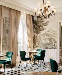 Landscape Murals: Inspiration & Sources | Centsational Style Traditional Interior, Modern Interior, Bathroom Niche, Forest Mural, Historic Properties, Country Landscaping, Mural Painting, Wall Murals, Home Office