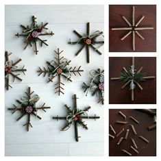 12 Rustic DIY Christmas Ornaments Designs – T-Shirts & Sweaters Scandinavian Christmas Decorations, Christmas Window Decorations, Wooden Christmas Ornaments, Yule Decorations, Rustic Christmas, Christmas Crafts, Christmas Christmas, Homemade Christmas, Twig Crafts
