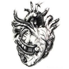 Сердце биомеханика тату