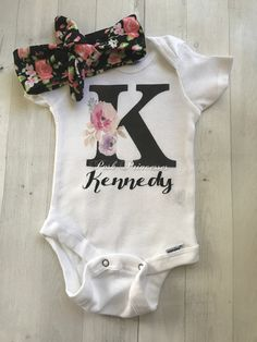 Baby Girl BoHo Watercolor Floral Mongrammed Personalized Onesie ONLY, Any Size