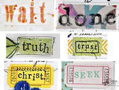 Triple the Scraps: Text Blocks for {Journaling} Bible; find out secrets to creating text blocks with stamps, stickers, and a typewriter.