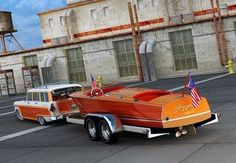 Vintage Ford Wagon and Wooden Chris Craft Boat