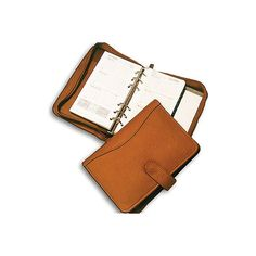 David King Leather 610 Zippered 6 Ring Agenda - Tan ($44) ❤ liked on Polyvore featuring home, home decor, stationery and tan