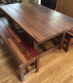 Walnut table with storage benches. Handmade by Ali Harrington Woodworks (FB)